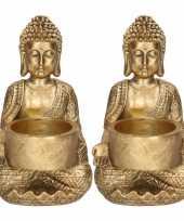 2x zittende boeddha waxinelichthouder goud 14 cm
