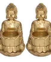 2x zittende boeddha waxinelichthouders goud 14 cm 10220092