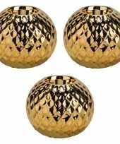 3x gouden waxinelichthouders waxinelichthouders diamond 11 cm