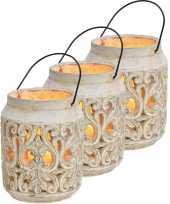 3x stenen waxinelichthouders waxinelichthouders windlichten lantaarns wit 19 cm