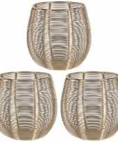 3x waxinelichthouders waxinelichthouders goud metaaldraad 12 cm