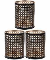 3x waxinelichthouders waxinelichthouders zwart goud metaal 10 cm