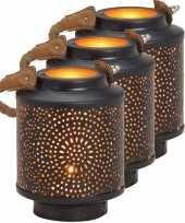 3x waxinelichthouders windlichten lantaarns metaal zwart goud 13 cm