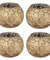 4x gouden waxinelicht waxinelicht houder met glas 7 cm