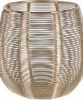 4x waxinelichthouder waxinelichthouder goud metaaldraad 12 cm