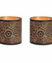 4x waxinelichthouders waxinelichthouders windlichten zwart goud rondjes cirkels patroon 13 cm