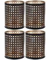 4x waxinelichthouders waxinelichthouders zwart goud metaal 10 cm
