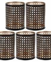 5x waxinelichthouders waxinelichthouders zwart goud metaal 10 cm