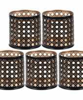 5x waxinelichthouders waxinelichthouders zwart goud metaal 6 cm