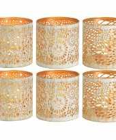 6x waxinelichthouders waxinelichthouders windlichten set metaal wit goud 11 cm