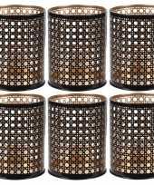 6x waxinelichthouders waxinelichthouders zwart goud metaal 10 cm
