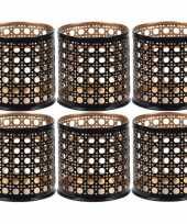 6x waxinelichthouders waxinelichthouders zwart goud metaal 6 cm