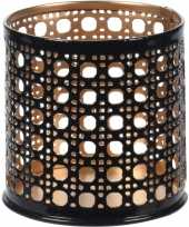 8x waxinelichthouders waxinelichthouders zwart goud metaal 6 cm
