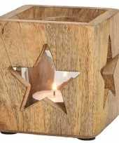 Houten windlichtjes waxinelichthouders met sterren 9 cm