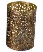 Metalen waxinelichthouder waxinelichthouder goud grof motief 12 x 17 cm