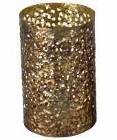 Metalen waxinelichthouder waxinelichthouder goud grof motief 14 x 21 cm