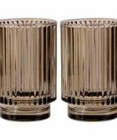 Set van 2x stuks ronde waxinelichthouders waxinelichthouders glas bruin 13 cm