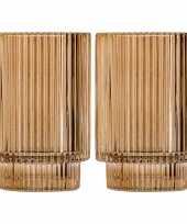 Set van 2x stuks ronde waxinelichthouders waxinelichthouders glas goud 13 cm