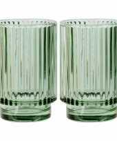 Set van 2x stuks ronde waxinelichthouders waxinelichthouders glas groen 13 cm