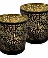 Set van 2x stuks waxinelichthouder waxinelichthouder glas mat zwart 18 cm jaguar print