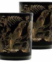Set van 2x stuks waxinelichthouder waxinelichthouder glas zwart 10 cm papegaai print