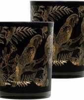 Set van 2x stuks waxinelichthouder waxinelichthouder glas zwart 12 cm papegaai print