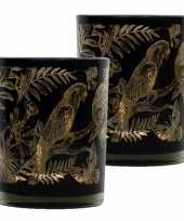 Set van 2x stuks waxinelichthouder waxinelichthouder glas zwart 8 cm papegaai print