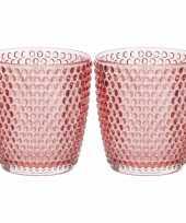 Set van 2x stuks waxinelichthouders waxinelichthouders bubbel glas rood 9 x 9 cm