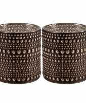 Set van 2x stuks waxinelichthouders waxinelichthouders glas bruin 10 cm