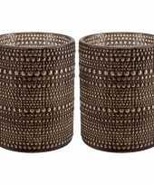Set van 2x stuks waxinelichthouders waxinelichthouders glas bruin 12 5 cm