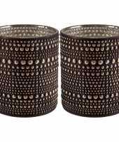 Set van 2x stuks waxinelichthouders waxinelichthouders glas bruin 8 cm
