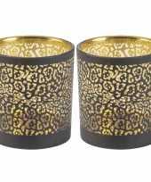 Set van 2x stuks waxinelichthouders waxinelichthouders glas zwart luipaard print 8 cm