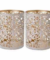 Set van 2x stuks waxinelichthouders waxinelichthouders goud white wash 13 cm