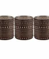 Set van 3x stuks waxinelichthouders waxinelichthouders glas bruin 10 cm