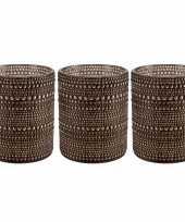 Set van 3x stuks waxinelichthouders waxinelichthouders glas bruin 12 5 cm