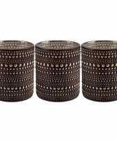 Set van 3x stuks waxinelichthouders waxinelichthouders glas bruin 8 cm