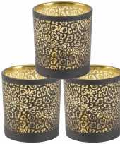 Set van 3x stuks waxinelichthouders waxinelichthouders glas zwart luipaard print 8 cm