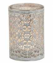 Waxinelicht waxinelicht houder zilver antiek 12 cm