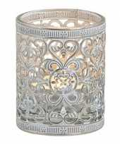 Waxinelicht waxinelicht houder zilver antiek 7 cm