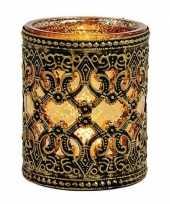 Waxinelicht waxinelicht houder zwart goud antiek 10 cm