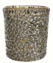 Waxinelichthouder goud met stenen groot