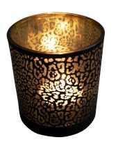 Waxinelichthouder waxinelichthouder glas mat zwart 12 5 cm jaguar print