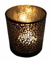 Waxinelichthouder waxinelichthouder glas mat zwart 18 cm jaguar print