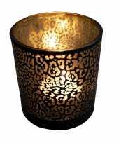 Waxinelichthouder waxinelichthouder glas mat zwart 8 cm jaguar print