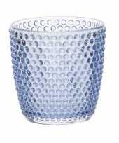Waxinelichthouders waxinelichthouders bubbel glas blauw 9 x 9 cm