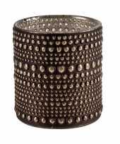 Waxinelichthouders waxinelichthouders glas bruin 10 cm