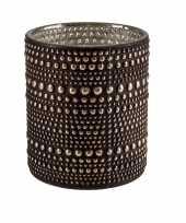 Waxinelichthouders waxinelichthouders glas bruin 8 cm