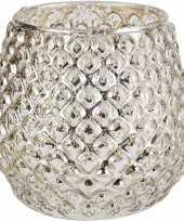 Waxinelichthouders waxinelichthouders glas zilver 10 x 11 cm