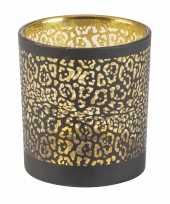 Waxinelichthouders waxinelichthouders glas zwart luipaard print 8 cm